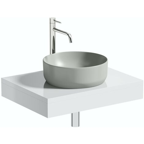 Artist Collection Gorgeous Grey round basin with countertop shelf