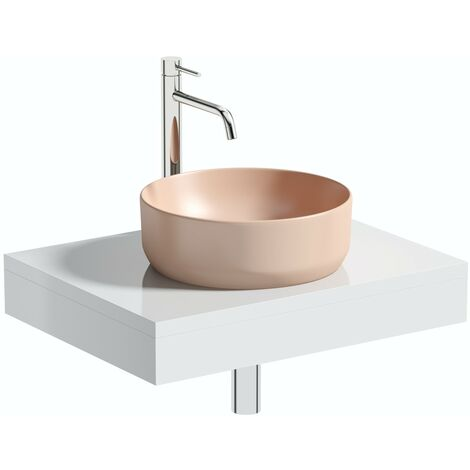 Artist Collection Lush Blush Light Pink round basin with countertop shelf