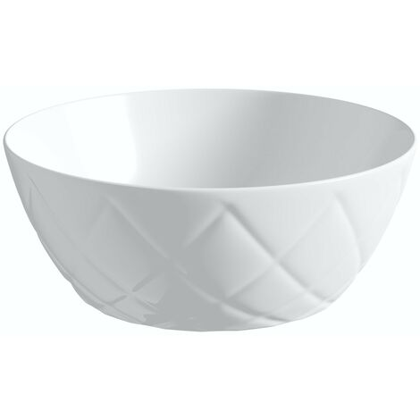 Artist Collection Wowee White textured countertop round basin 358mm with waste