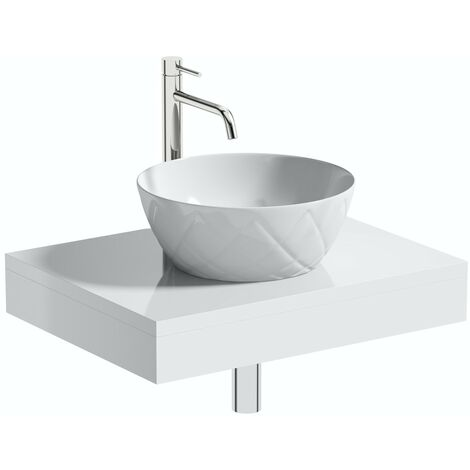 Artist Collection Wowee White textured round basin with countertop shelf