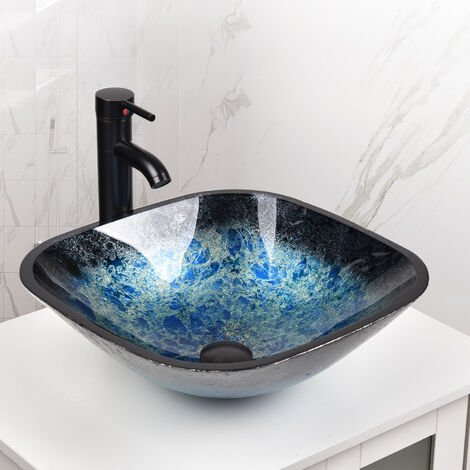 Artistic Vessel Sink Bathroom Tempered Glass Vanity Bowl with Oil Rubber Bronze Faucet and Pop up drain Combo Square Blue