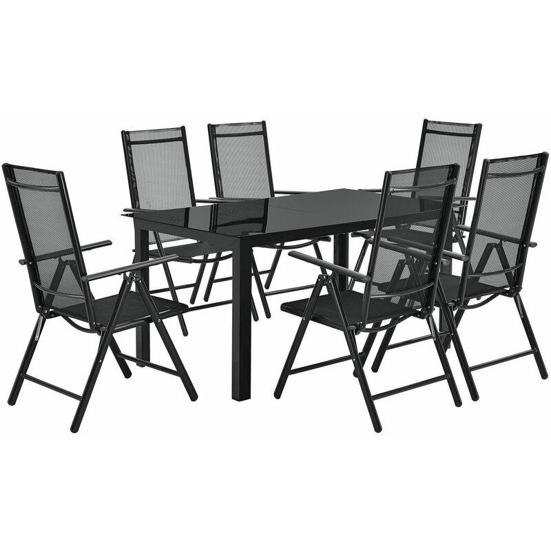 Aluminium Gartengarnitur Milano Gartenmöbel Set mit Tisch und 6 Stühlen dunkel-grau mit schwarzer Kunstfaser Alu Sitzgruppe Balkonmöbel - Artlife