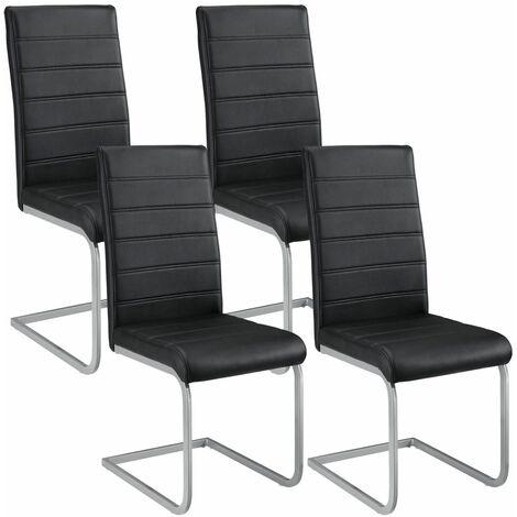 ArtLife Freischwinger Stuhl Vegas 4er Set   Kunstleder Bezug + Metall Gestell   120 kg belastbar   schwarz   Esszimmerstühle Schwingstühle