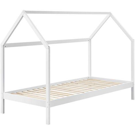 ArtLife Kinderbett Lea 90 x 200 cm mit Lattenrost und Dach - Bett für Kinder aus massivem Kiefernholz - weiß Hausbett Holzbett