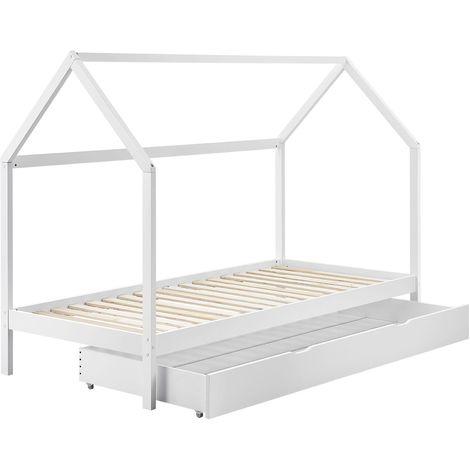 ArtLife Kinderbett Lea 90 x 200 cm mit Schublade, Lattenrost und Dach - Bett für Kinder aus massivem Kiefernholz - weiß Hausbett Holzbett