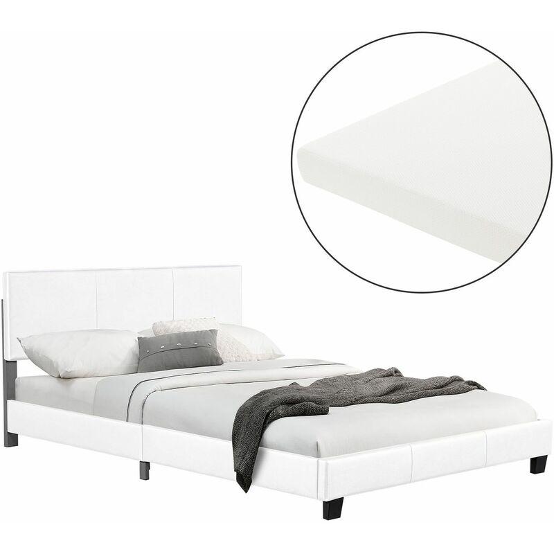 Polsterbett Bolonia 140 x 200 cm weiß Einzelbett mit Kaltschaummatratze - Juskys