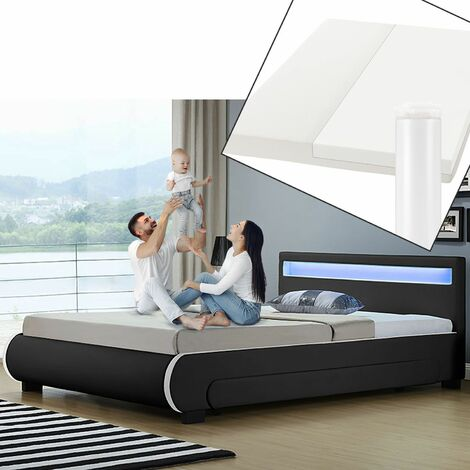 ArtLife Polsterbett Bilbao 180 x 200 cm schwarz mit Kaltschaummatratze Matratze Bett Einzelbett