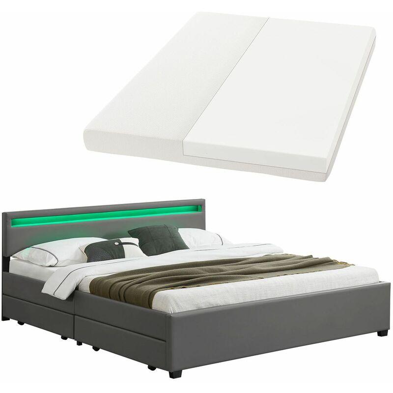 ArtLife Polsterbett Manresa 140 x 200 cm Bett Komplett-Set mit Matratze dunkel-grau Zeitloses modernes Design Lattenrost und Kopfteil