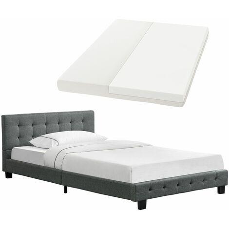 Artlife Polsterbett Manresa 120x200 cm - Bett Komplett-Set mit Matratze, Lattenrost & Kopfteil - Holz Bettgestell für Kinder bis Erwachsene – grau