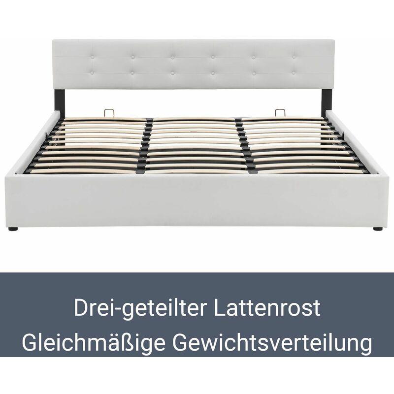 ArtLife Polsterbett Marbella 140 x 200 cm wei/ß mit Lattenrost /& Kaltschaummatratze