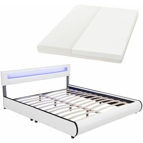 ArtLife Polsterbett Sevilla 180 x 200 cm weiß Doppelbett Ehebett mit Kaltschaummatratze