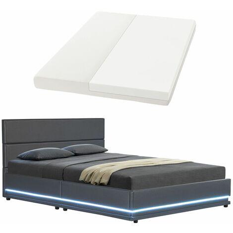 ArtLife Polsterbett Toulouse 140 x 200cm mit LED, Bettkasten und Kaltschaummatratze - dunkelgrau