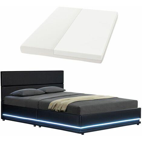 ArtLife Polsterbett Toulouse 140 x 200cm mit LED, Bettkasten und Kaltschaummatratze - schwarz