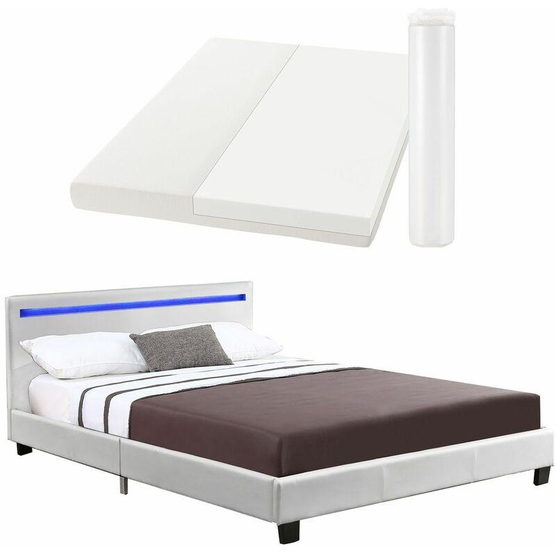 Polsterbett Verona | 120×200 cm | Bettgestell inkl. LED-Beleuchtung, Lattenrost & Matratze | weiß | Kunstleder | Einzelbett Jugendbett - Artlife