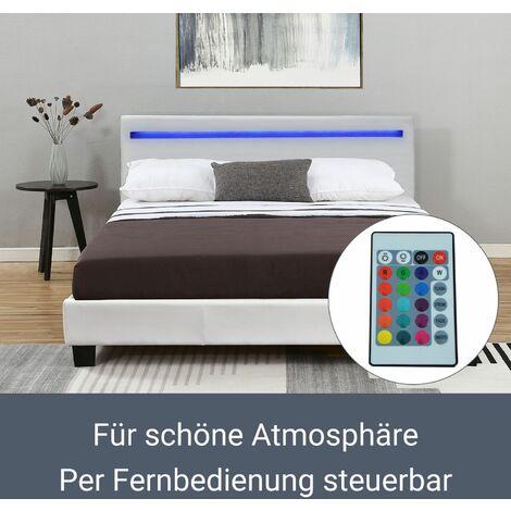 ArtLife Polsterbett Verona   120×200 cm   Bettgestell inkl. LED-Beleuchtung, Lattenrost & Matratze   weiß   Kunstleder   Einzelbett Jugendbett