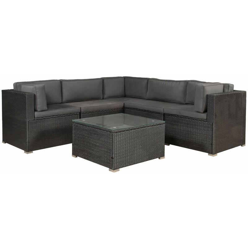 Polyrattan Lounge Nassau schwarz | Gartenmöbel Set mit Ecksofa & Tisch | Bezüge in Grau | Sitzgruppe für Terrasse | Loungemöbel Gartenlounge |