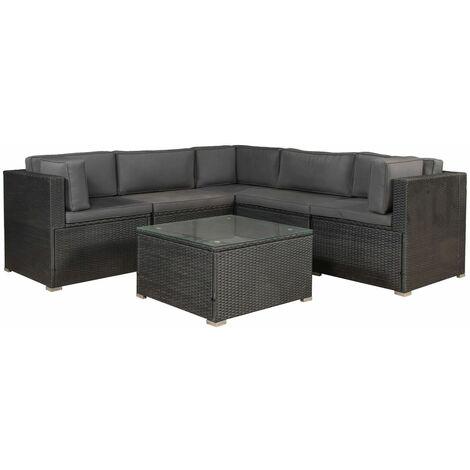 ArtLife Polyrattan Gartenmöbel Lounge Sitzgruppe Nassau mit Bezügen in Dunkelgrau