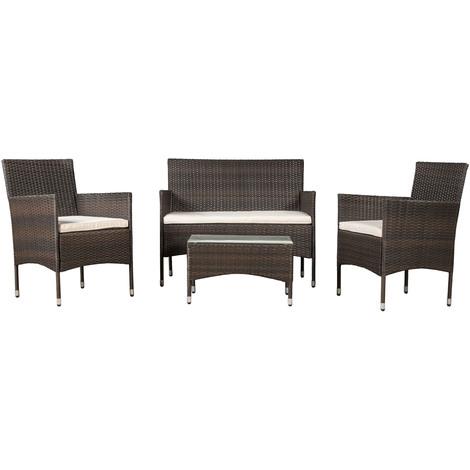 ArtLife Polyrattan Gartenmöbel Sitzgruppe Fort Myers in schwarz oder braun wahlweise mit Bezügen