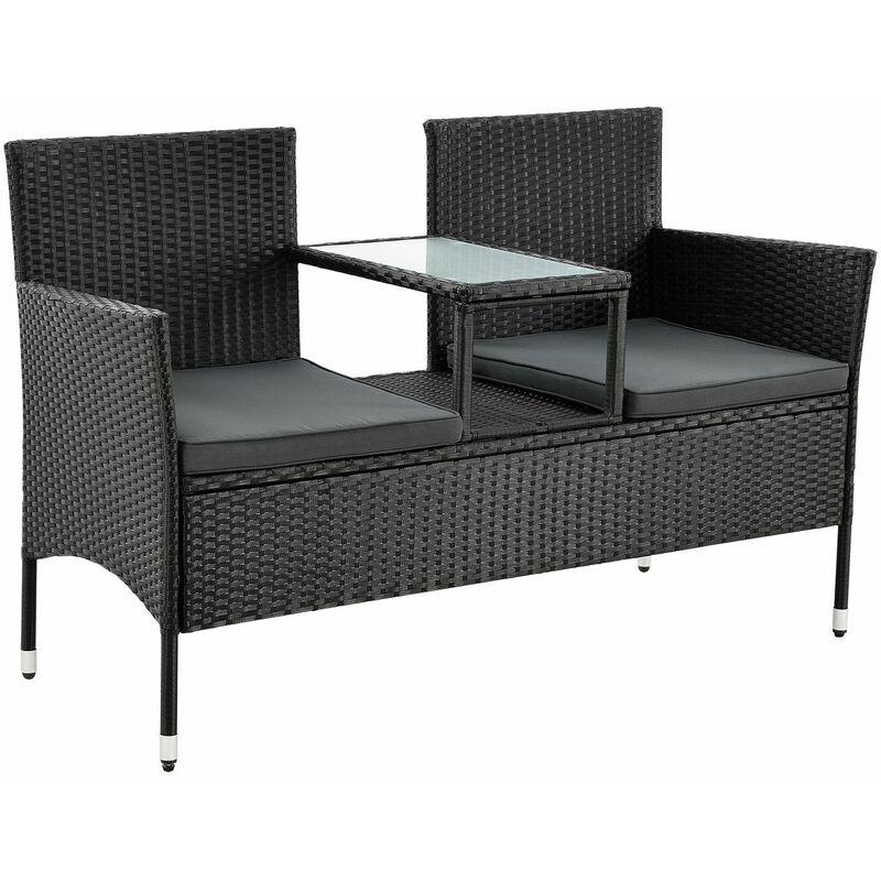 Polyrattan Gartenbank Monaco – 2-Sitzer Bank mit integriertem Tisch & Kissen in Grau – 133 × 63 × 84 cm – Sitzbank wetterfest – schwarz - Juskys