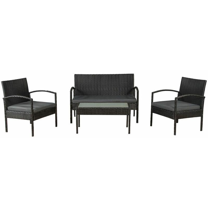 Polyrattan Gartenmöbel Sitzgruppe Trinidad schwarz mit dunkelgrauen Bezügen - Artlife