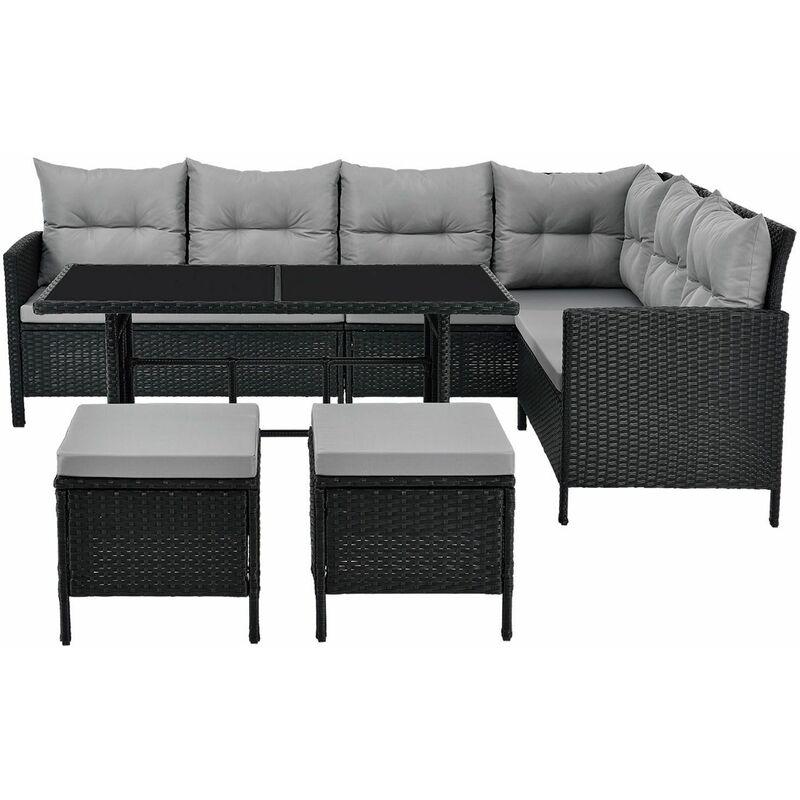 Polyrattan Lounge Manacor schwarz – Gartenlounge mit Sofa, Tisch, 2 Hocker & Kissen – Gartenmöbel Set bis 7 Personen – Sitzbezüge in Grau - Juskys