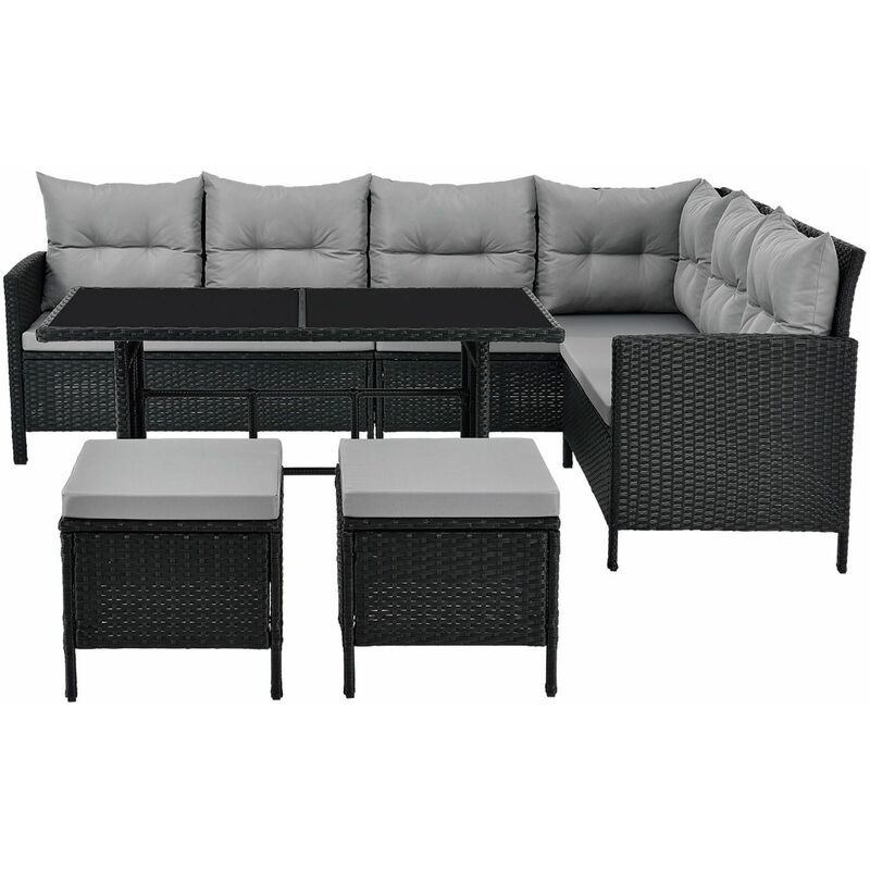 Polyrattan Lounge Manacor | Gartenmöbel Set mit Sofa, Tisch & 2 Hockern | schwarz mit grauen Bezügen | Rattan Sitzgruppe - Artlife