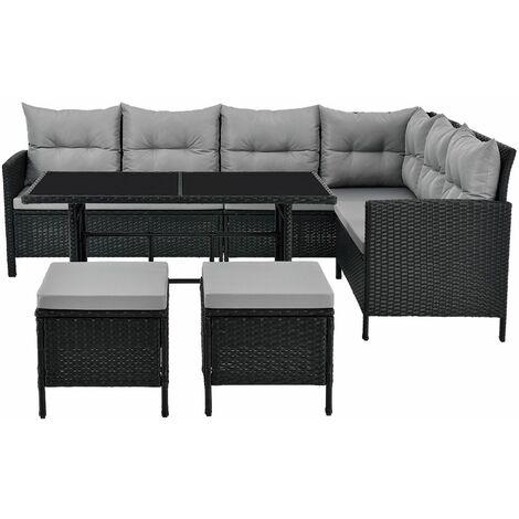 ArtLife Polyrattan Lounge Manacor   Gartenmöbel Set mit Sofa, Tisch & 2 Hockern   schwarz mit grauen Bezügen   Rattan Sitzgruppe