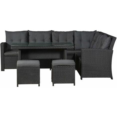 Artlife Polyrattan Lounge Sitzgarnitur Santa Catalina Schwarz Mit
