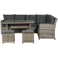 ArtLife Polyrattan Lounge Sitzgarnitur Santa Catalina beige-grau und schwarz mit Bezügen in Dunkelgrau