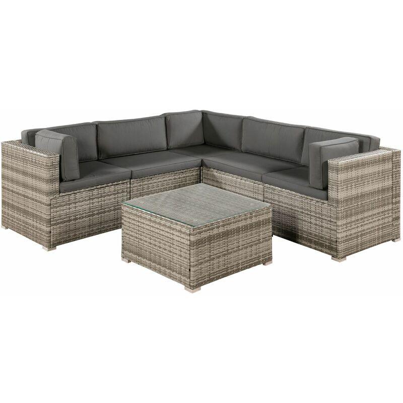 Polyrattan Lounge Sitzgruppe Nassau beige-grau | Gartenlounge mit Sofa & Tisch | Kissen-Bezüge in grau | Gartenmöbel Set für Garten & Terrasse |