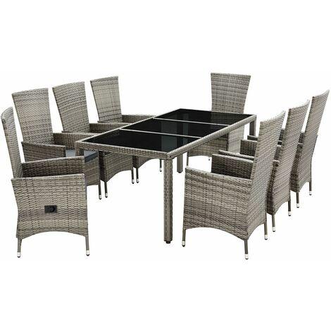 Artlife Polyrattan Sitzgruppe Rimini Plus 9 Teilig Grau Meliert Gartenmobel Set Mit Tisch 8 Stuhle Kissen Graue Bezuge Rattan Balkonmobel 200170