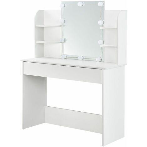ArtLife Schminktisch Bella mit LED-Beleuchtung, Spiegel, Schublade und Fächern | weiß | modern | MDF Holz | Frisiertisch Kosmetiktisch Kommode