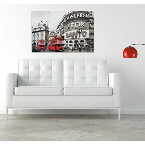 Artopweb EC21585 Piccadilly Circus London Red Panneau de Décoration Bois Multicolore 90 x 60 x 1,8 cm