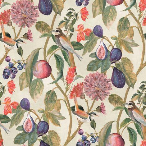 "main image of ""Aruba Cream Wallpaper Holden Topical Jungle Paste The Wall Birds Green Purple"""