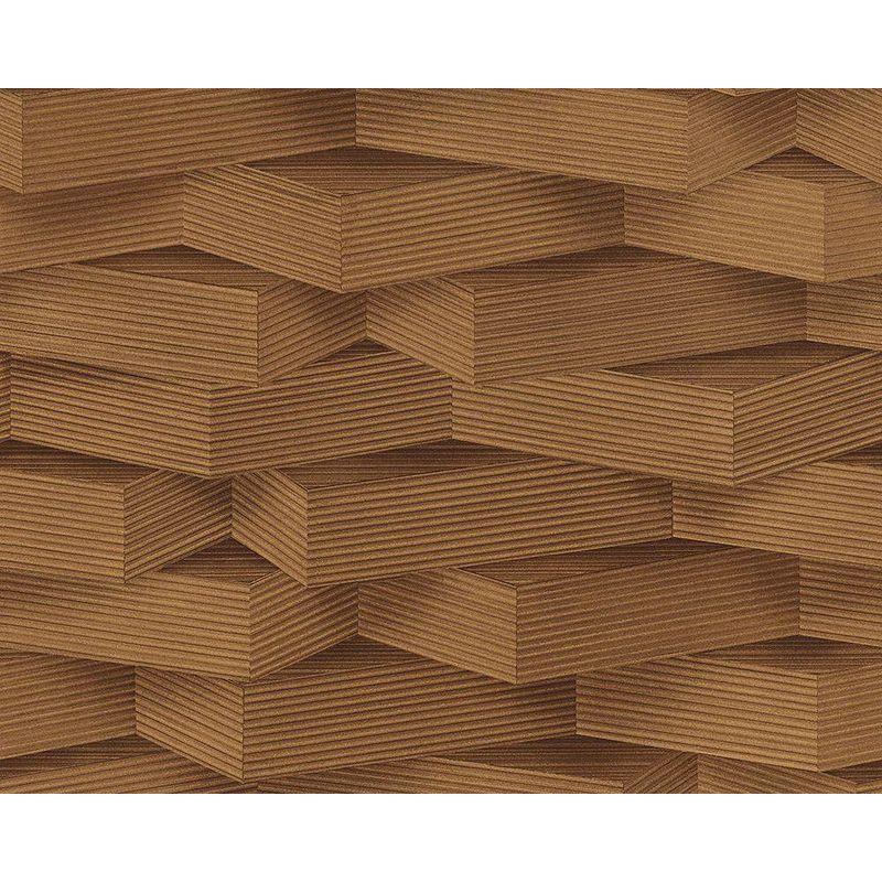 Image of 3D Pattern Wallpaper Wood Effect Geometric Blocks Dark Brown Paste Wall Vinyl