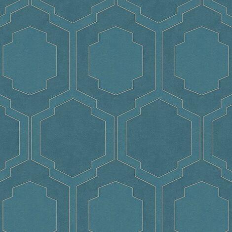 A.S Creation Art Deco Tiles Teal Blue Metallic Silver Wallpaper Textured Vinyl