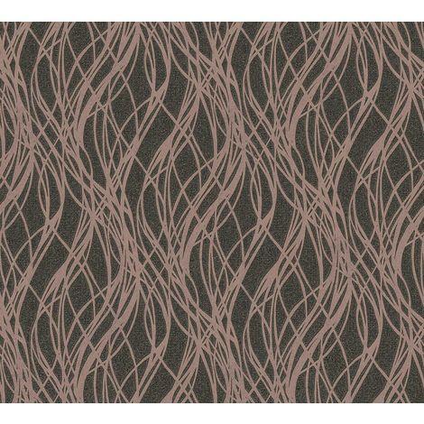 A.S Creation Black/ Rose Gold Ribbon Stripe Wallpaper