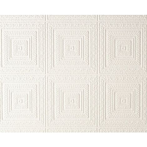 AS Creation Expanded Blown Vinyl Ceiling Wallpaper White 6640-13 Full Roll