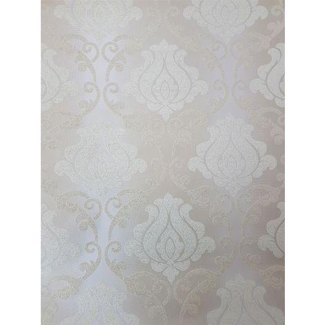 A.S Creation Glitter Damask Beige/ White/ Gold Wallpaper