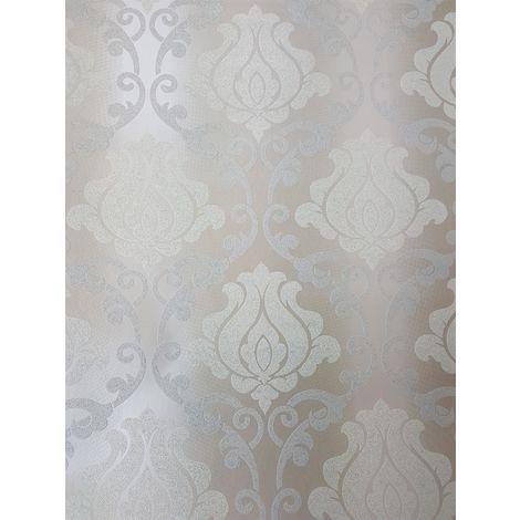 A.S Creation Glitter Damask Beige/ White/ Silver Wallpaper