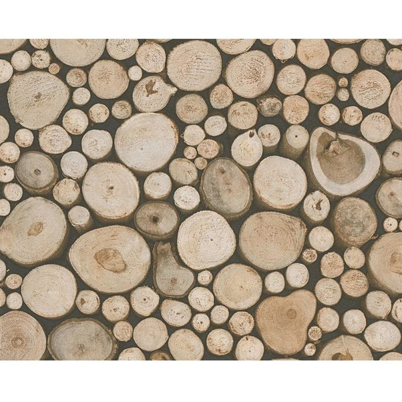 Image of 3D Effect Tree Trunk Stack Wood Log Wallpaper Forest Beige Brown - A.s Creation