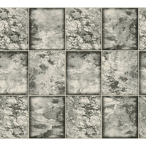 AS Creation Marble Tile Silver 34279-3