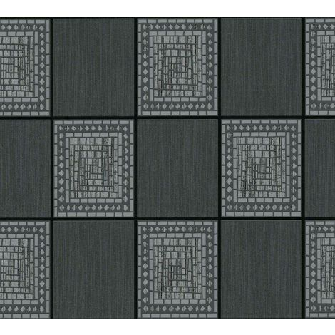 A.S Creation Mosaic Tile Black glitter wallaper