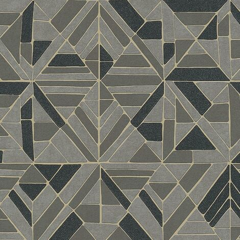 A.S Creation Retro Black Grey Tiles Metallic Gold Wallpaper Textured Vinyl
