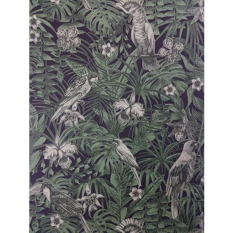 A.S Creation Tropical Birds Green/ Black Wallpaper