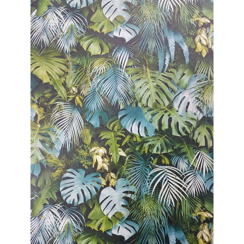 Image of 3D Effect Tropical Palm Leaf Wallpaper Green Blue Vinyl Paste Wall - A.s Creation