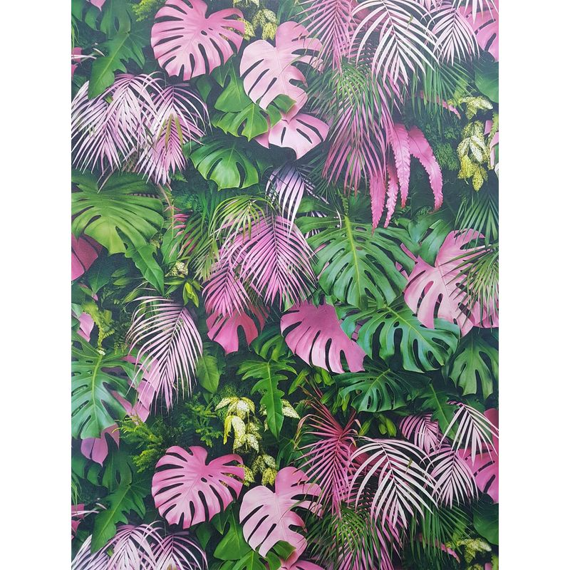 Image of 3D Effect Tropical Palm Leaf Wallpaper Green Pink Vinyl Paste Wall - A.s Creation