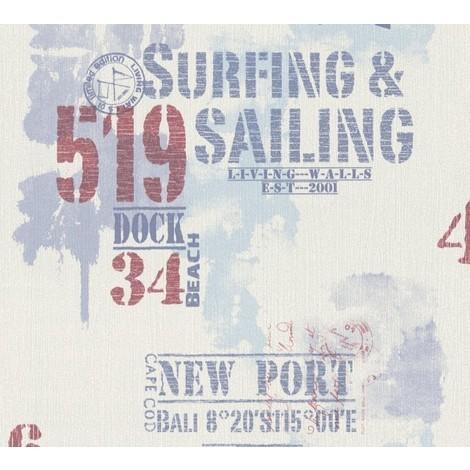 "A.S. Création Vliestapete Surfing and Sailing Blau Rot Weiß Buchstaben 927019-""927019l"""