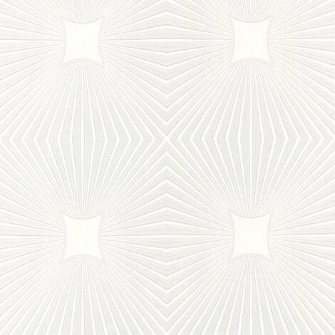 A.S Creation Blown Vinyl White Paintable Embossed Wallpaper Starburst
