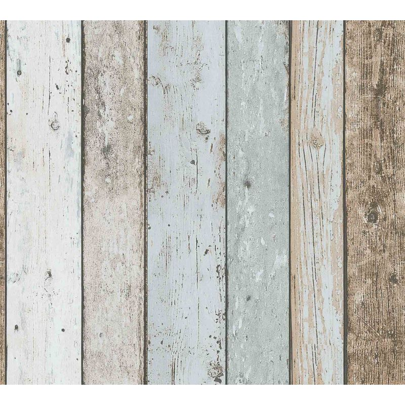 Image of 3D Effect Wood Panel Plank Wallpaper Distressed Cream Blue Brown A.S Creation